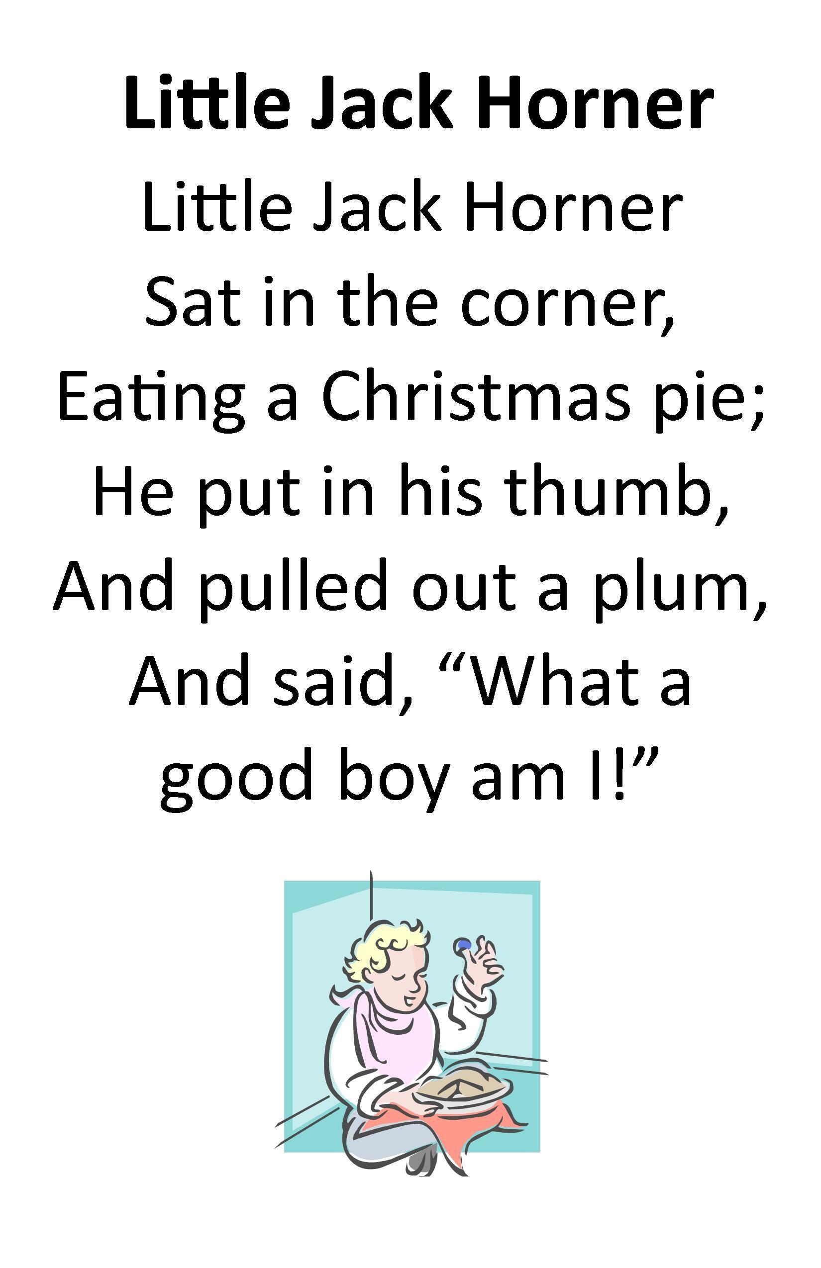 Itty Bitty Rhyme Little Jack Horner Childrens Poems Preschool