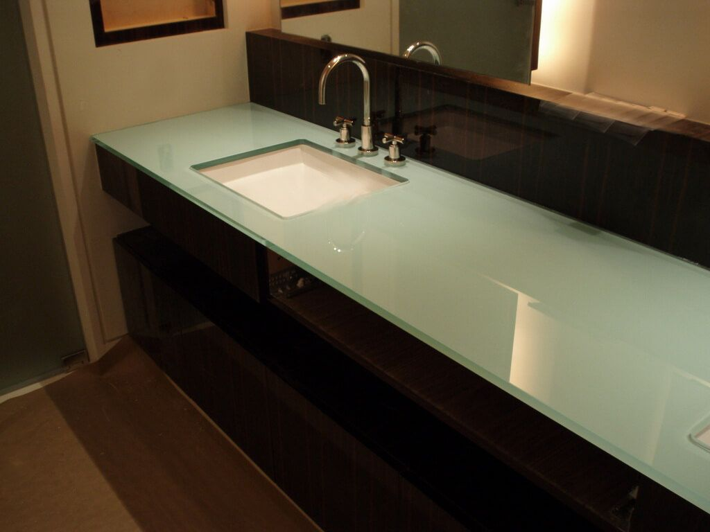 Back Painted Gl Countertop With Undermount Sink Cutout