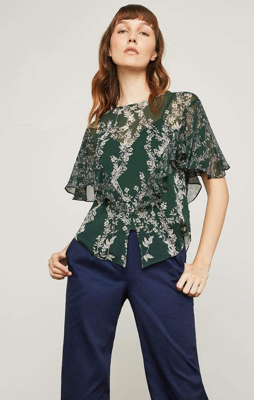 e866786691211 BCBGMAXAZRIA Stream of Bloom Ruffle Top