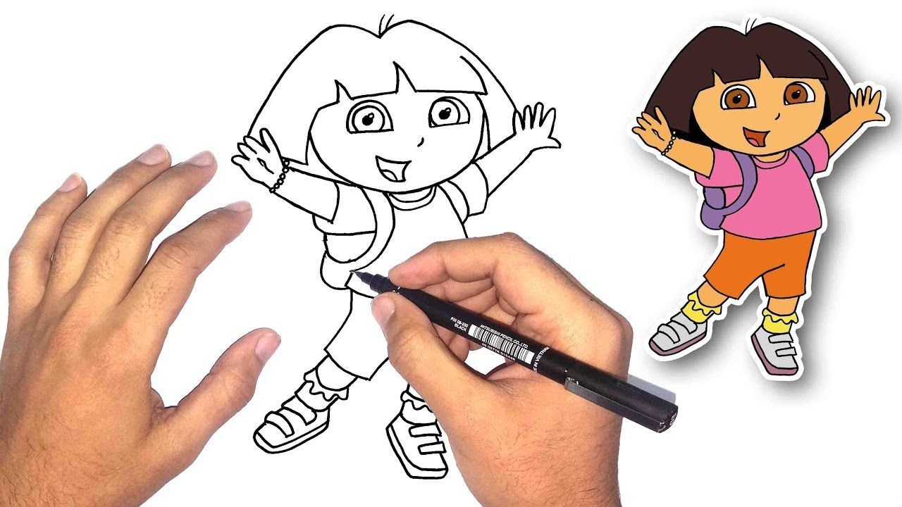 تعليم الرسم للاطفال كيف ترسم دورا خطوة بخطوة How To Draw Dora Art Drawings For Kids Art Drawings Art