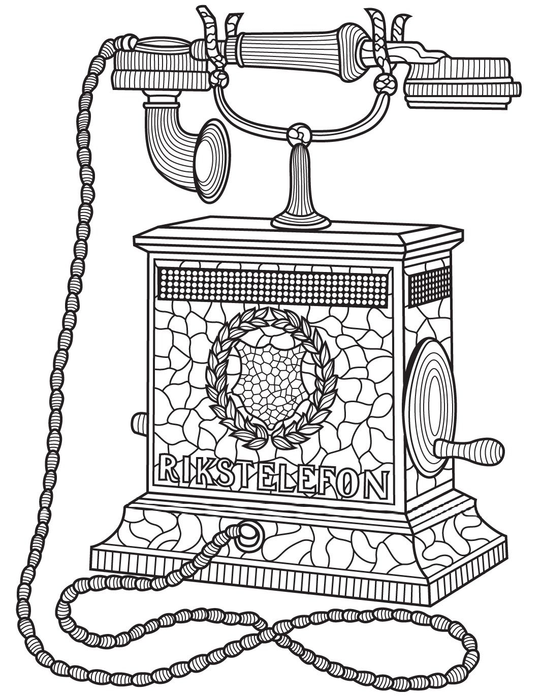 Antique telephone | Colorish: coloring app for adults by ...