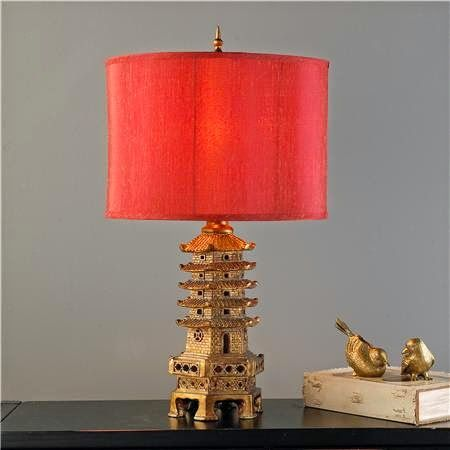 """""""Golden Pagoda Chinoiserie Table Lamp"""" offered by Shades of Light. Photo via Shades of Light website."""