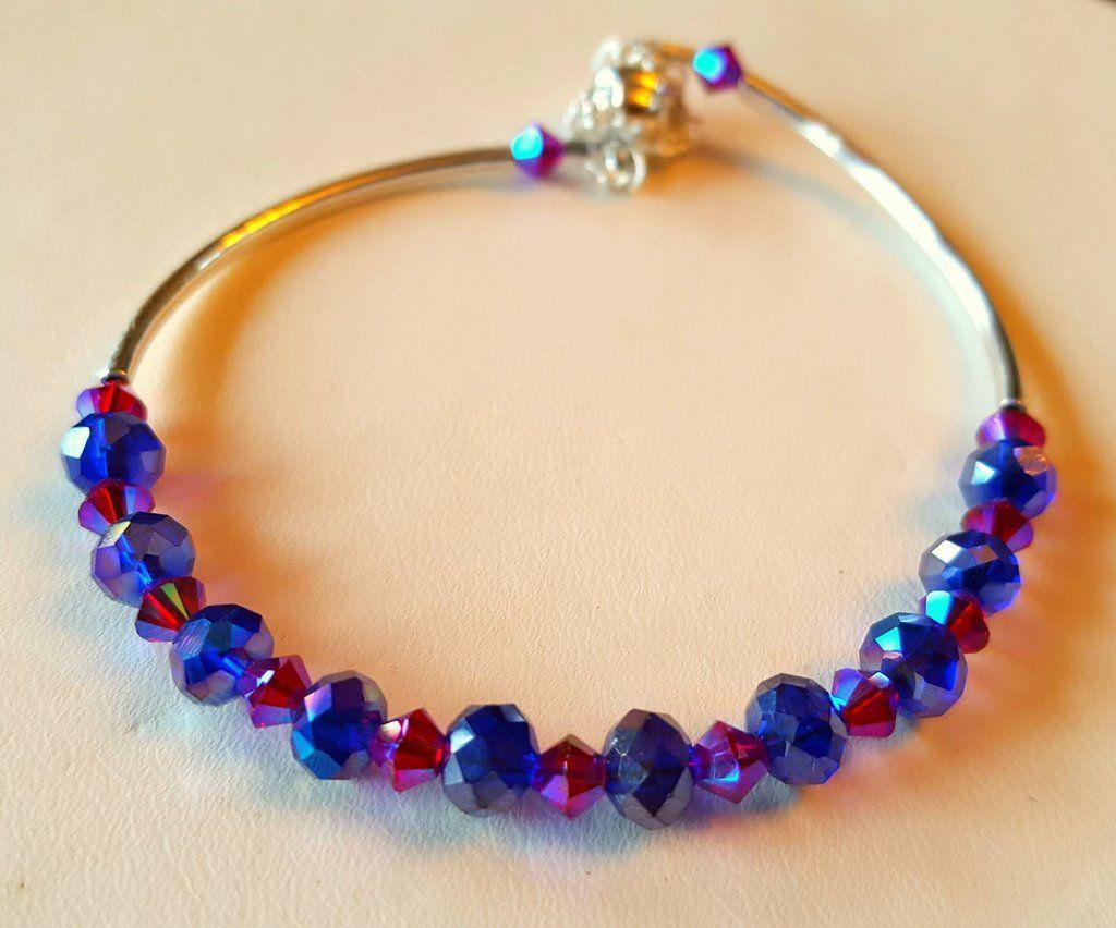 Crystal clasp bracelet 021 magenta royal blue
