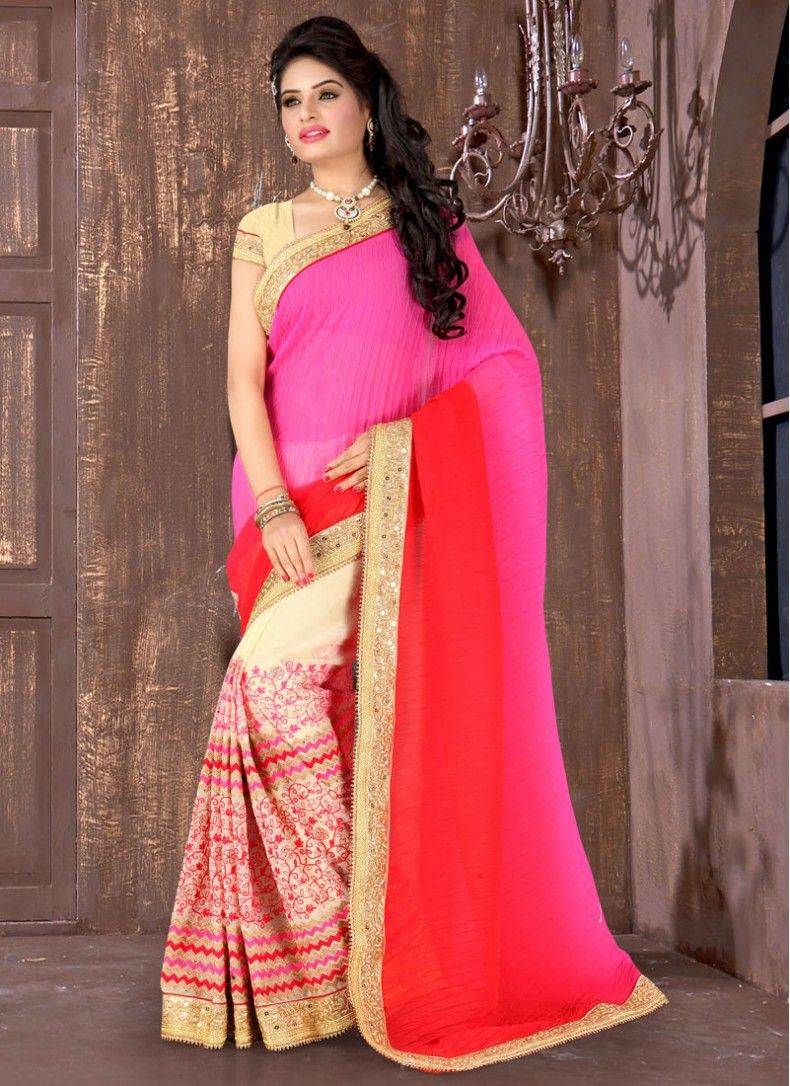 Color embroidered wedding dress  Magnetic Embroidered Georgette Cream Hot Pink and Red Designer