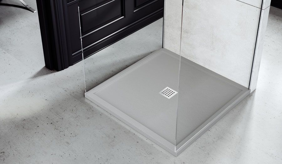 Superieur Fiora Silex Light Grey Low Profile Square Shower Tray With Central Waste