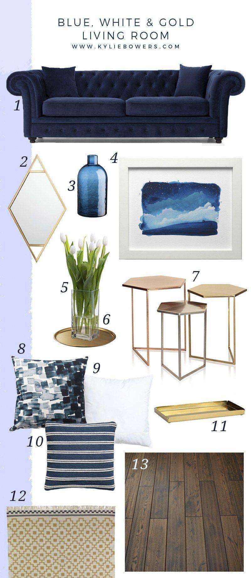Blue White Gold Living Room Kylie Bowers Art Illustration