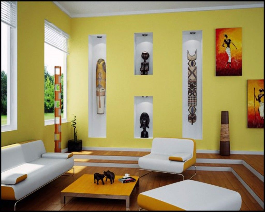 Living Room: Yellow Living Room Design With African Art Wallpaper: African  Living Room Decor Part 40