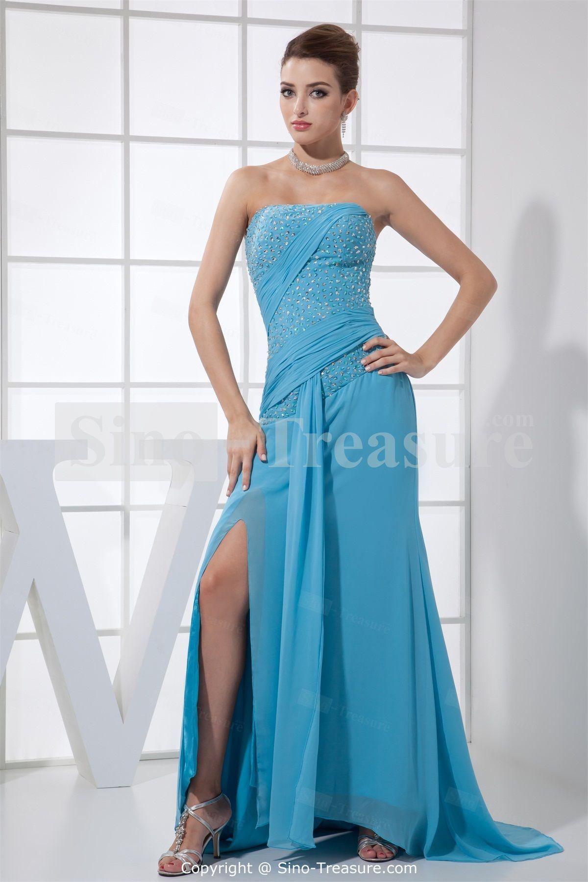 Elegant Blue Floor-Length Chiffon Strapless Petite Prom Dress ...