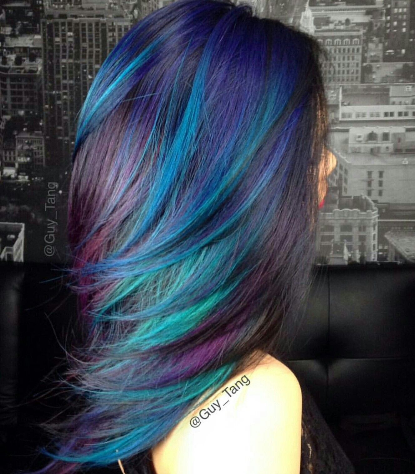 Blue Aqua Purple Black Hair Color Rainbow Hair Color Hair Styles Hair Color Blue