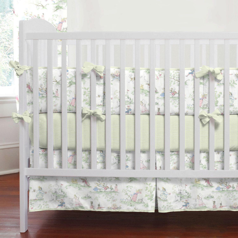 Nursery Rhyme Toile Sage Baby Crib Bedding