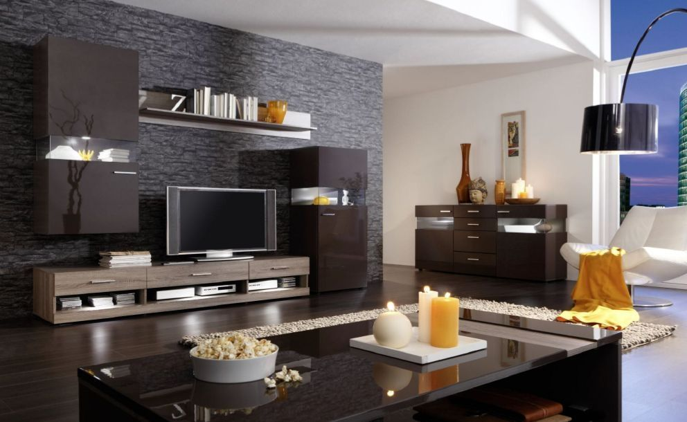 nelson wohnwand ii eiche dunkel braun modern. Black Bedroom Furniture Sets. Home Design Ideas