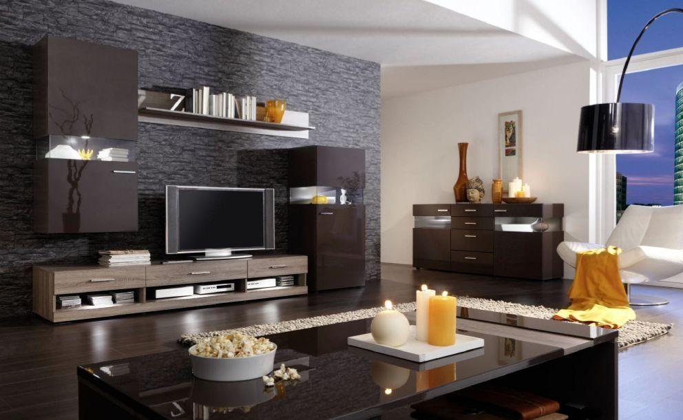 Wohnzimmer minimalistisch ~ Nelson wohnwand ii eiche dunkel braun modern wohnzimmer