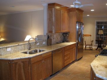 Natural Cherry Kitchen Open To Living Room Memphis Lm Designs Wood Cabinets Shaker Door