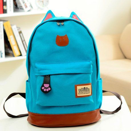 e9d96ed80fd AM Landen Super Cute Light Weight Canvas CAT Ears Backpacks (Cat Off-White)