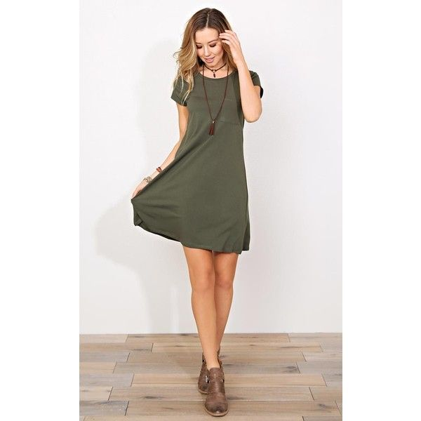 8794db2e3dce Olive Pocket Knit T Shirt Dress ($13) ❤ liked on Polyvore featuring dresses,  tshirt dress, army green t shirt dress, pocket dress, knit dress and crew  neck ...