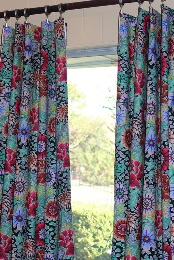 Bohemia Hippie Floral Curtains Tween Girls Curtains Bold Red Girl Curtains Girls Bedroom Curtains Floral Curtains