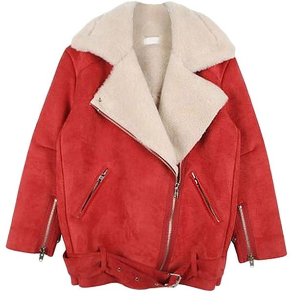 Red Pretty Ladies Turndown Fur Collar Suede Jacket (£30) ❤ liked on Polyvore featuring outerwear, jackets, red, red jacket, fur collar jacket, suede leather jacket, suede jacket and red suede jacket