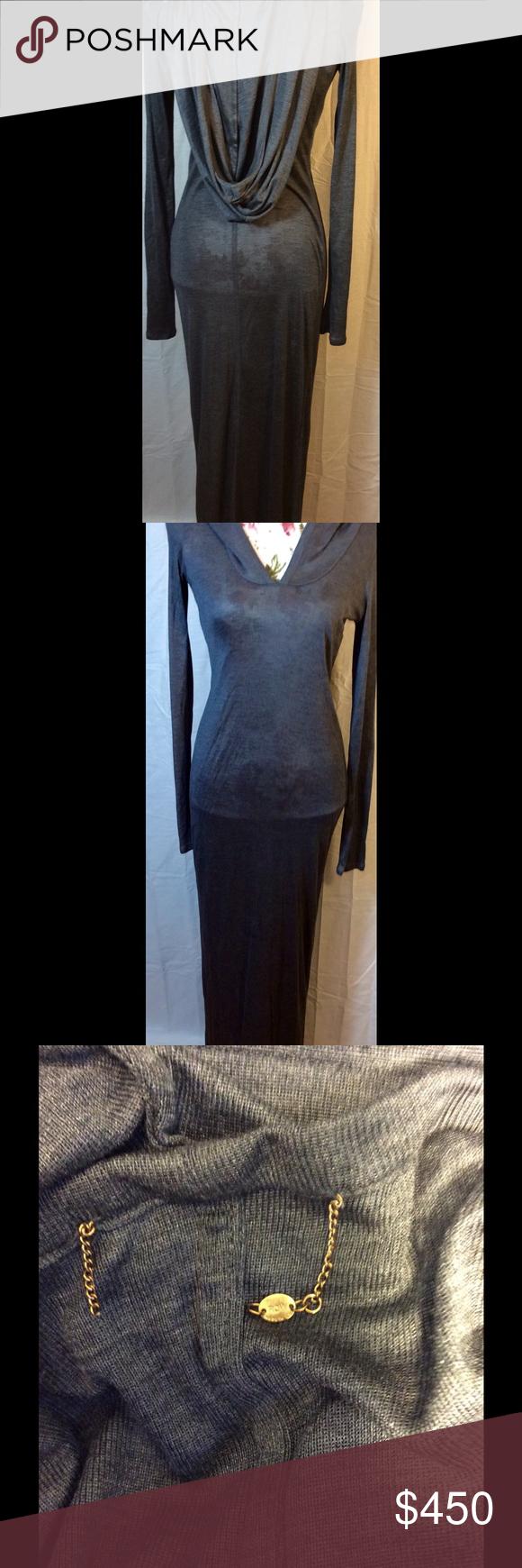 The row sheer gray hooded maxi dress sz s maxi dresses hoods and