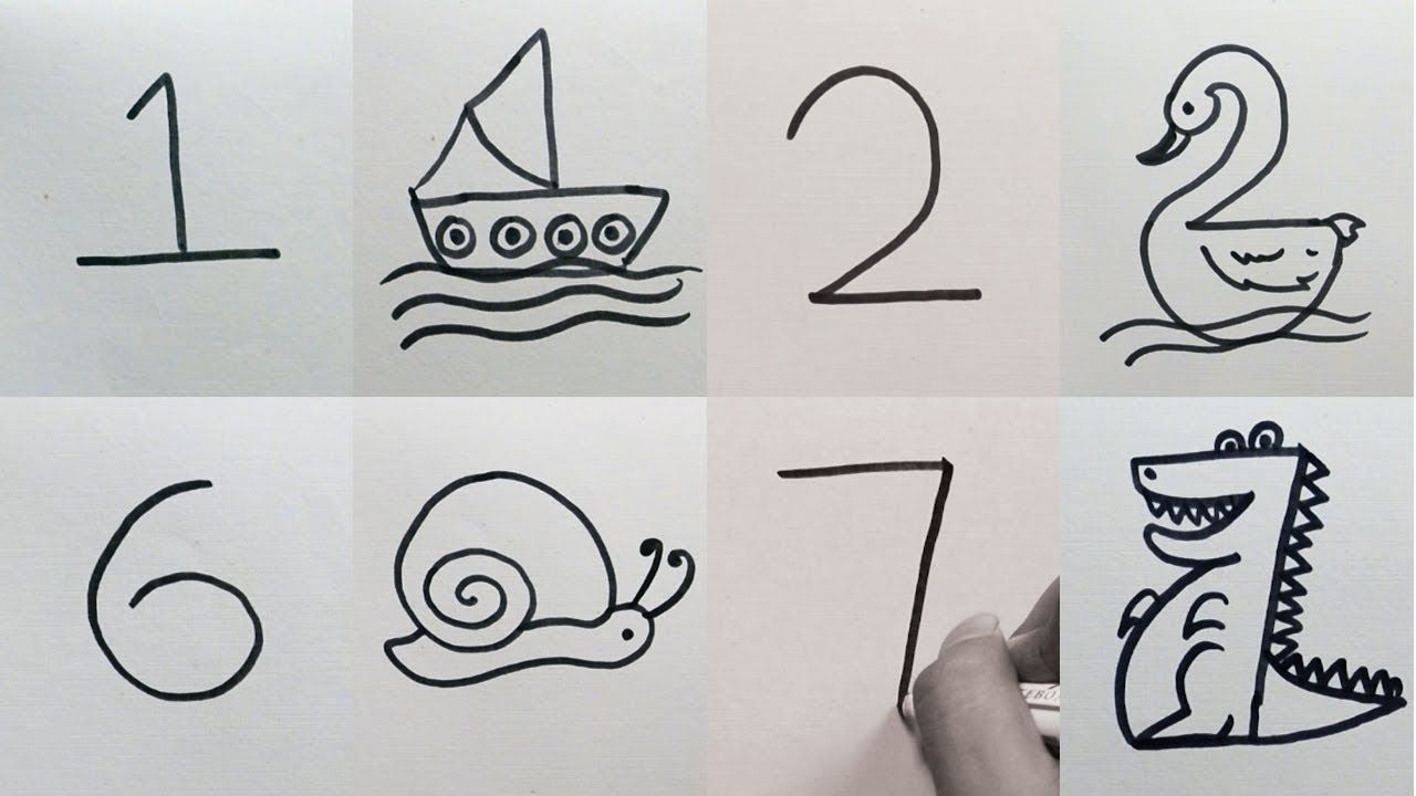 How To Draw Anything From Numbers Easy 9 Drawing From Numbers For Kids 1 9 Youtube Easy Drawings For Kids Number Drawing How To Draw Anything