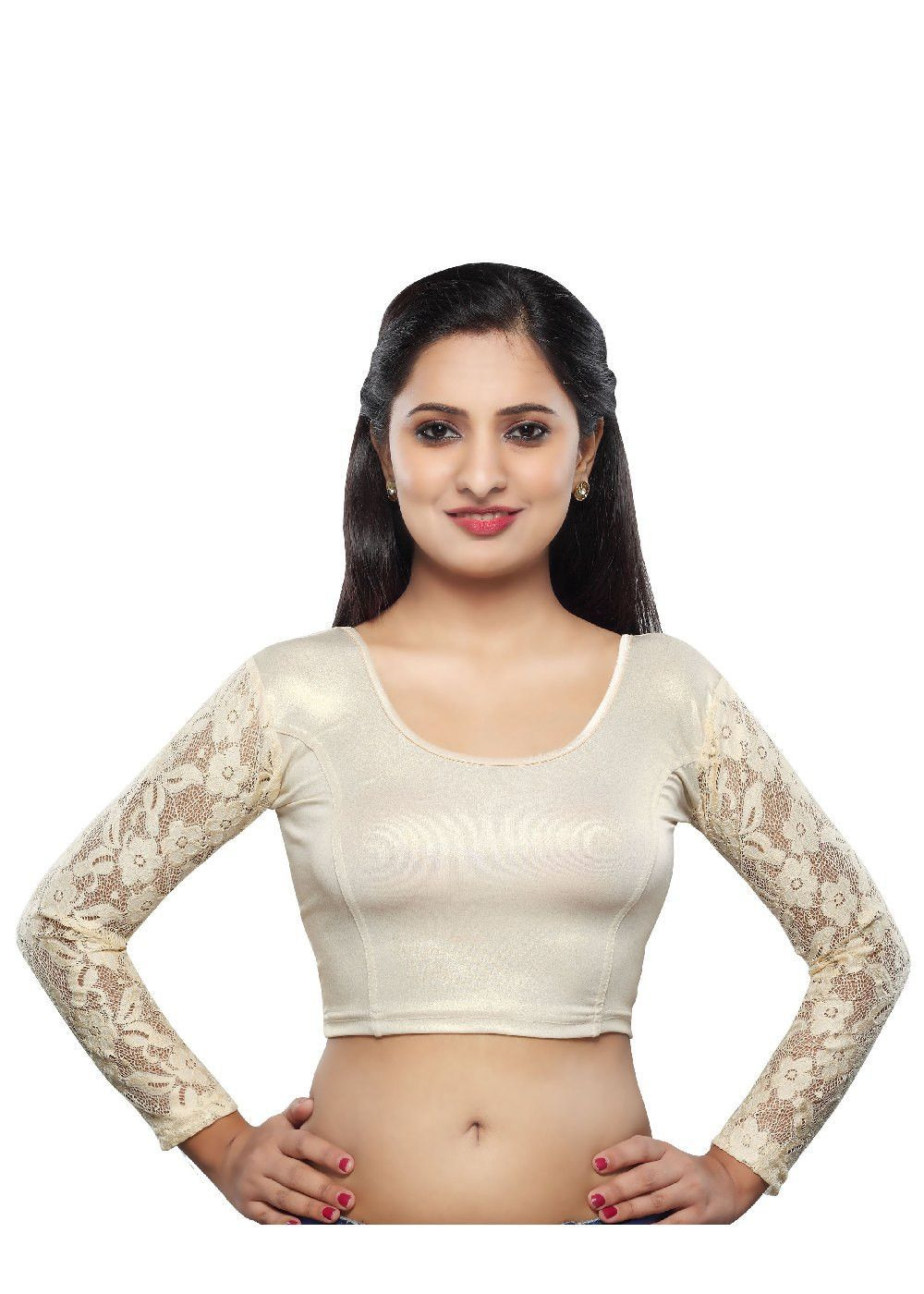 Saree blouse design sleeve offwhite shimmer stretchable saree blouse with long sleeves snta
