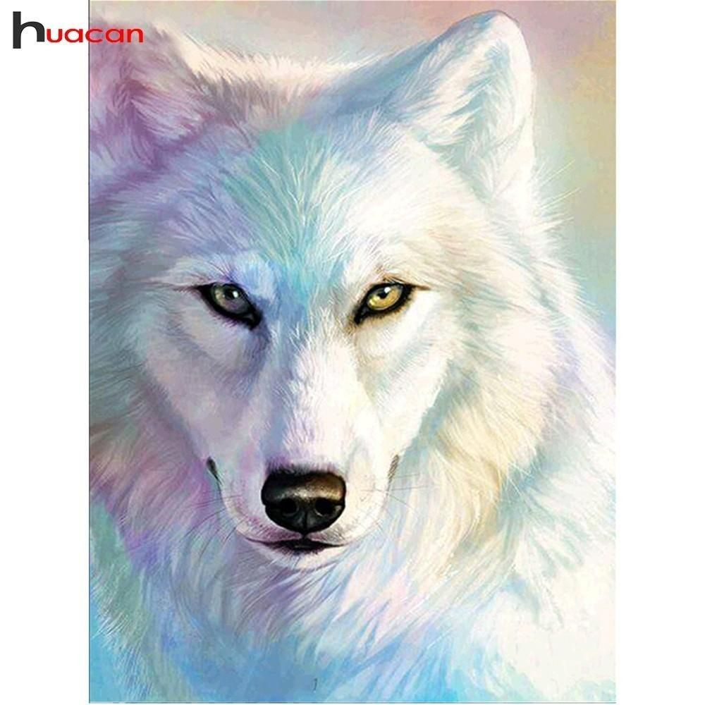 5d Diy Diamond Painting White Wolf Drawing Square Or Round Drill You Pick 5 Kit Sizes To Pick From Wolf Painting Wolf Drawing Cross Paintings