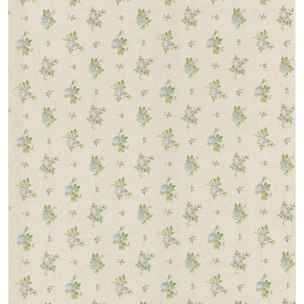 Brewster Cottage Living Blue Rosebud Linen Wallpaper Sample