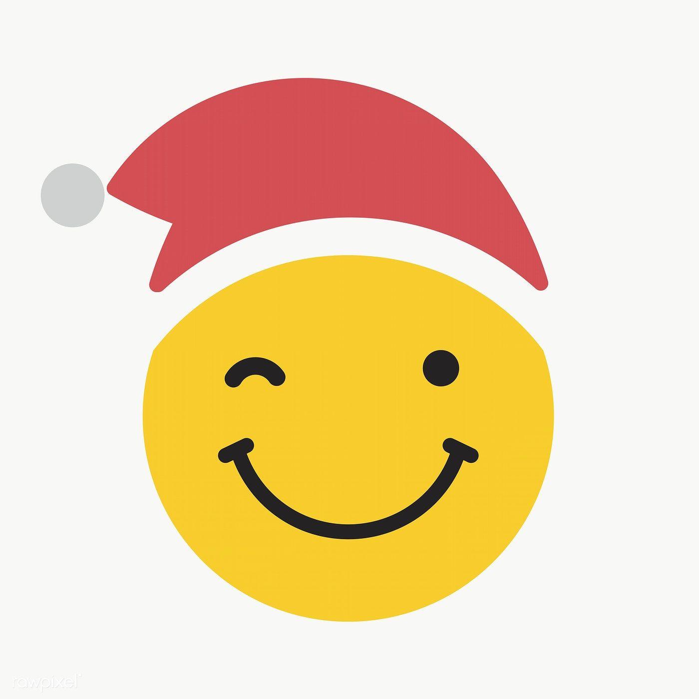Download Premium Png Of Round Yellow Santa With Winking Face Emoticon On Winking Face Emoticon Emoji