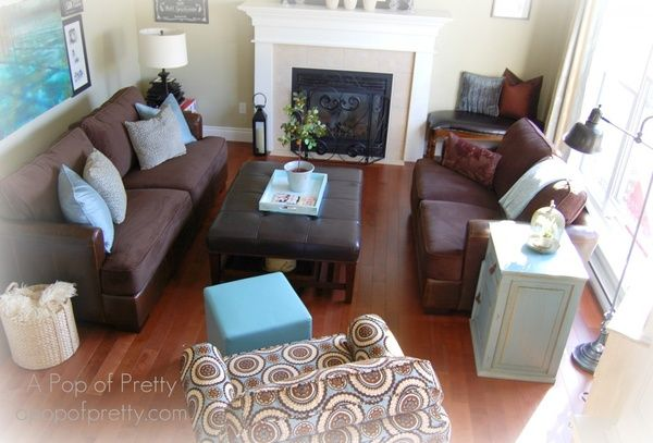 Brown Leather Couch With Turquoise And Cream/white Accents