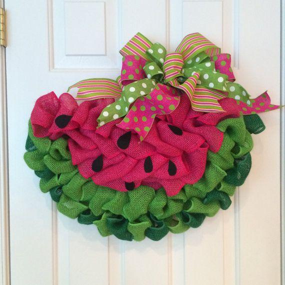 Watermelon Wreath Watermelon Slice Door Hanger Made With Looped Burlap Ribbon Burlap