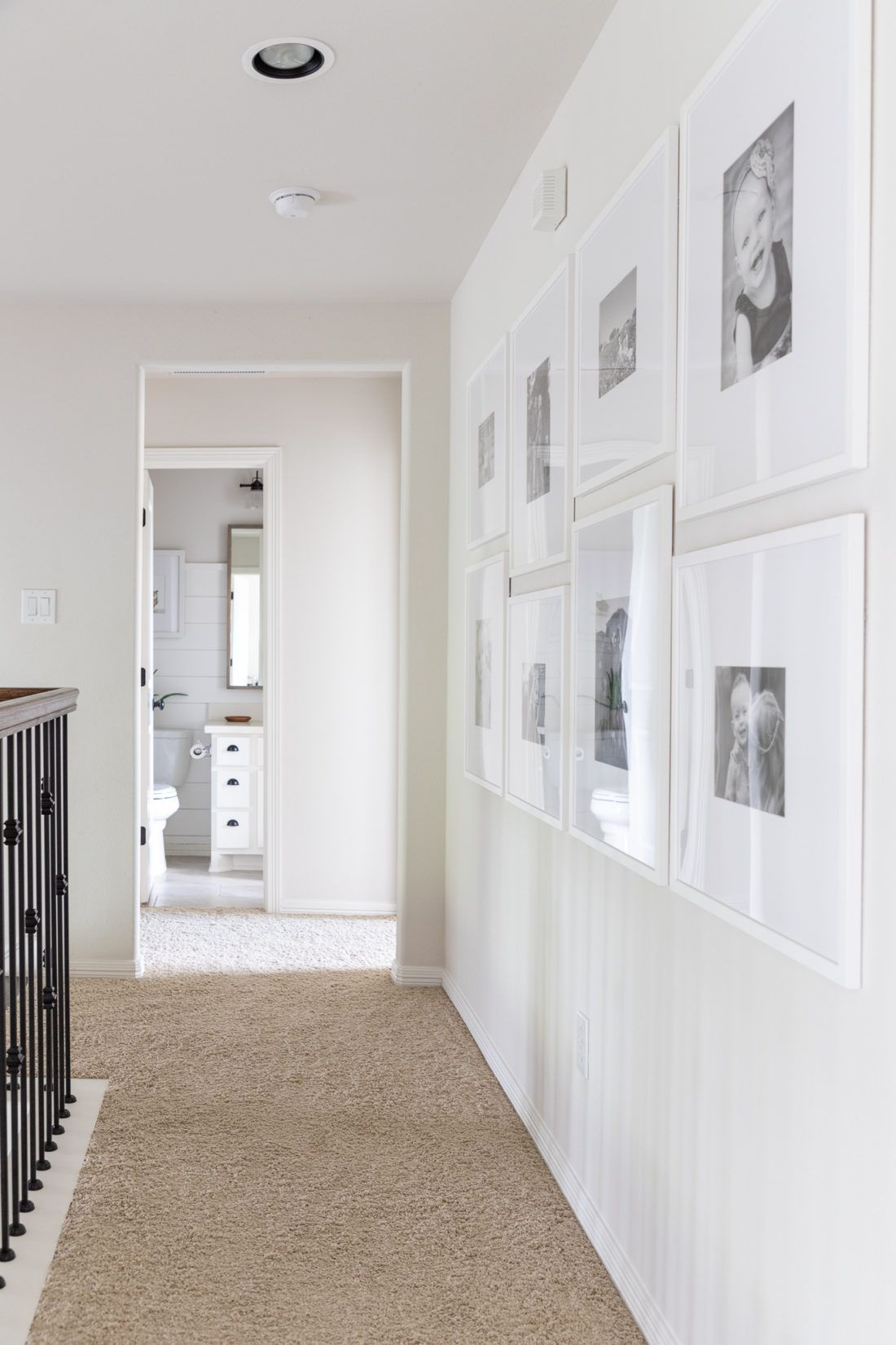 Gallery Wall With Custom Picture Frames Hallway Gallery Wall Gallery Wall Hallway Wall Decor
