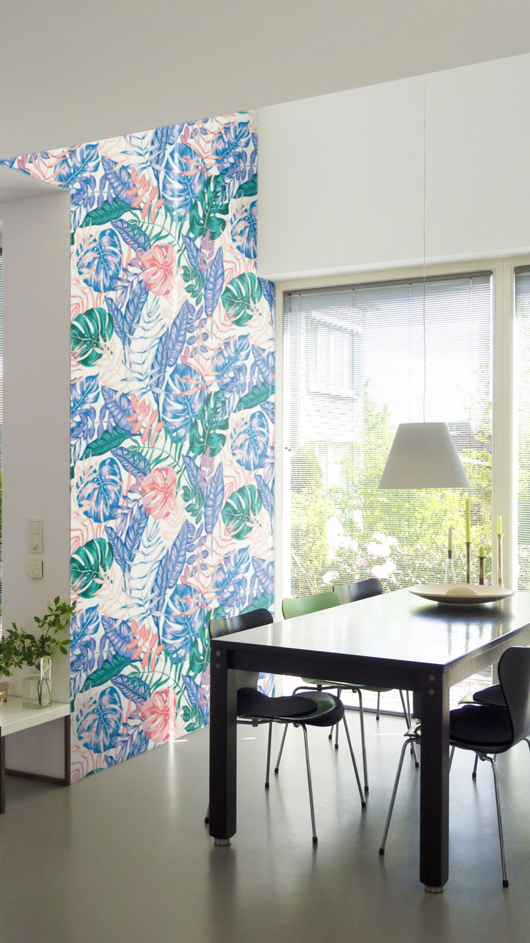 Blue and Pink Floral Floral Fabric Removable Wallpaper