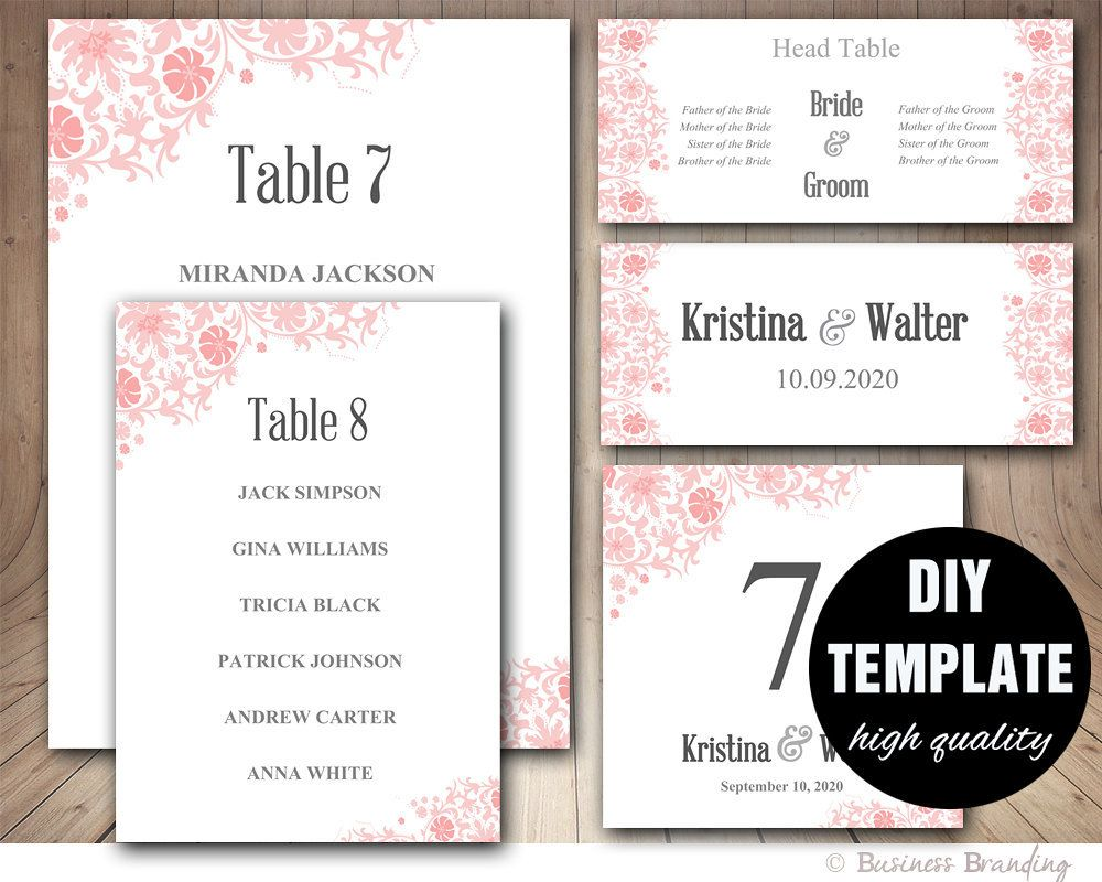 Wedding Seating Chart Template Blush Pink Placecard Printable Table List