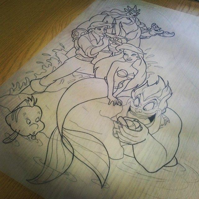 The little mermaid sleeve designed for miss for Little mermaid tattoo sleeve