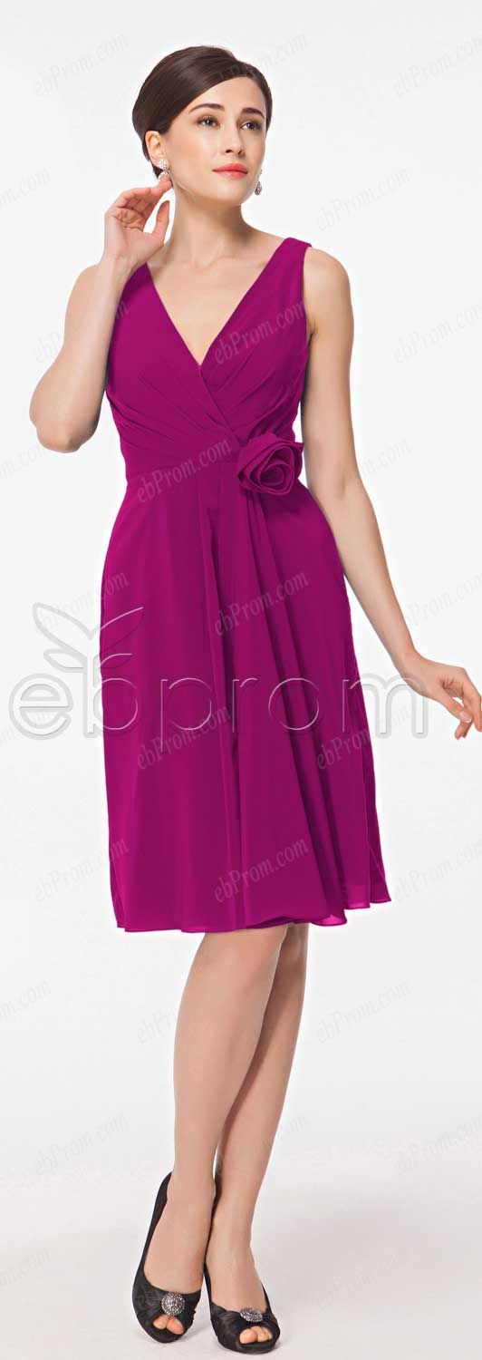 Plum bridesmaid dresses knee length