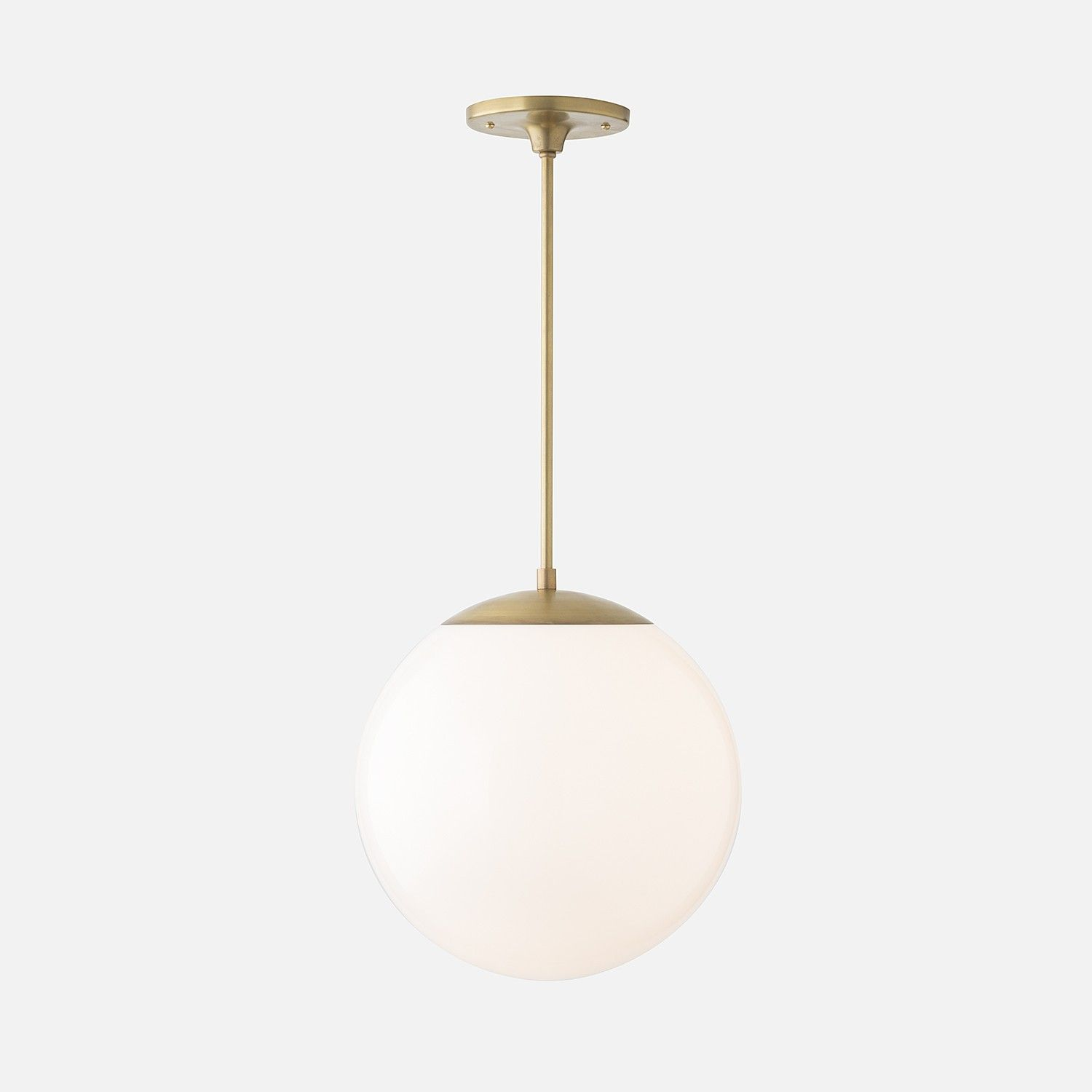 Over Table Light Fixture Luna Pendant Rod Natural Brass With 12 Quot Shade Nicole