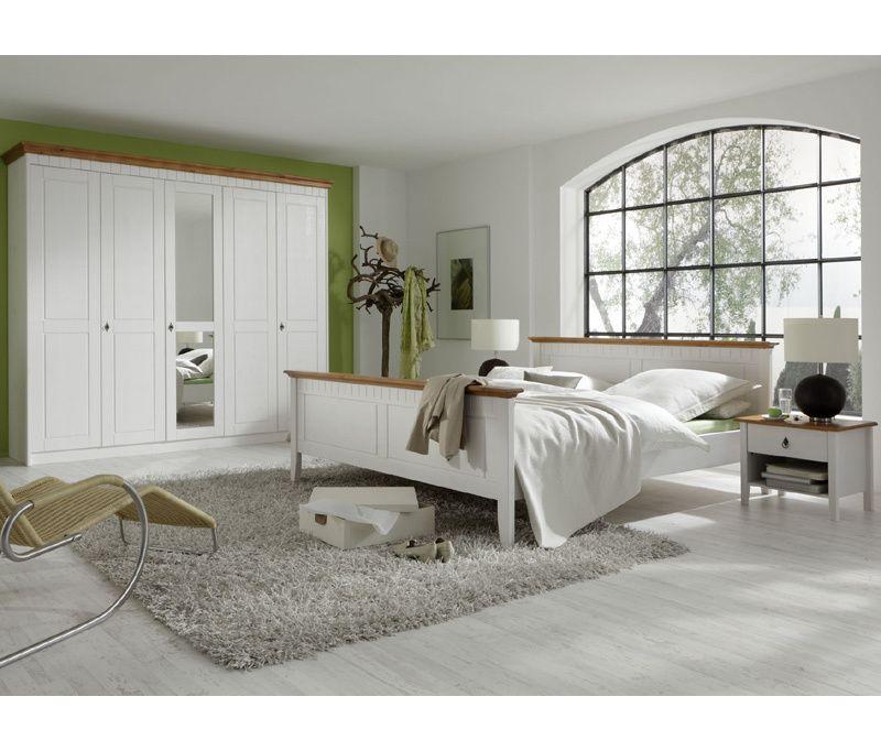 Landhaus Schlafzimmer Set »CAPRO226« Pine massiv, weiß lasiert ...