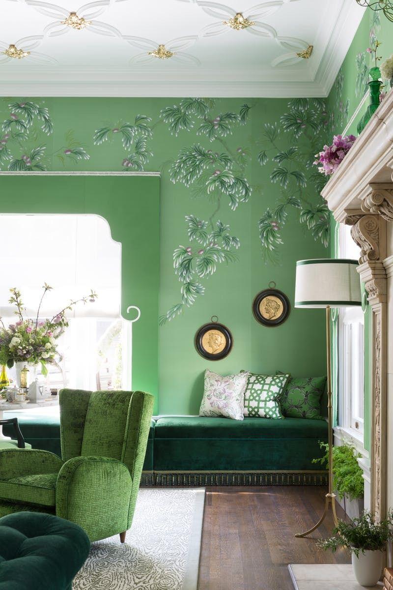 Tree Design Wallpaper Living Room: Room Crush: A Decadent Designer Green-on-Green-on-Green