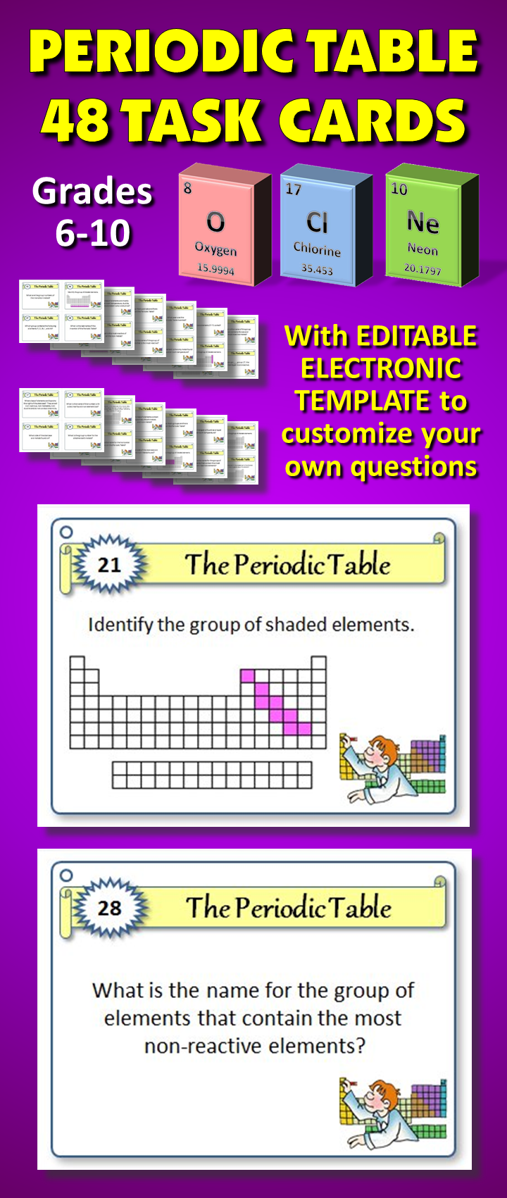 Periodic table task cards with editable template early 48 periodic table task cards with editable electronic template to customize your own questions helps gamestrikefo Gallery