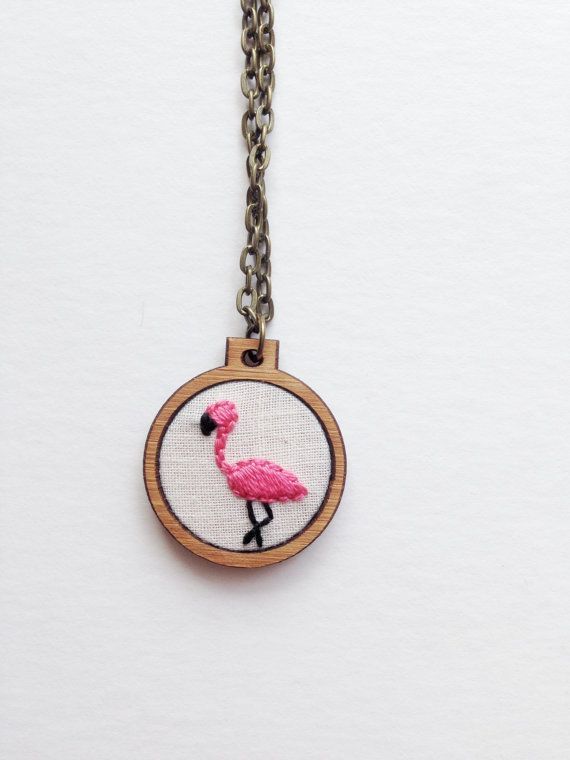 flamingo necklace bird necklace embroidered by CallHerHappy