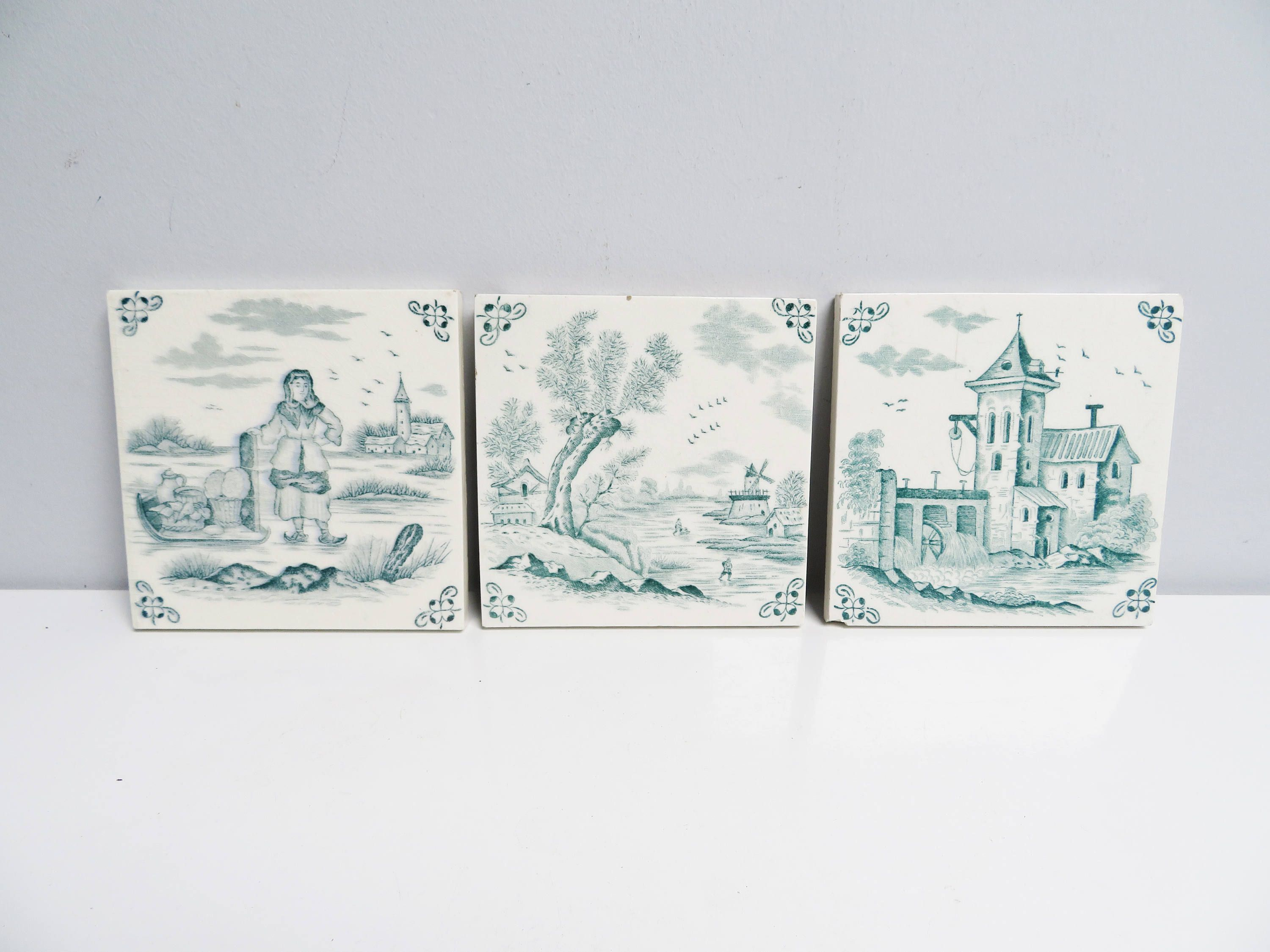 Three vintage ceramic tile trivet kitchen tile fireplace three vintage ceramic tile trivet kitchen tile fireplace handpainted delft green dutch holland castle windmill landscape height 47in dailygadgetfo Image collections