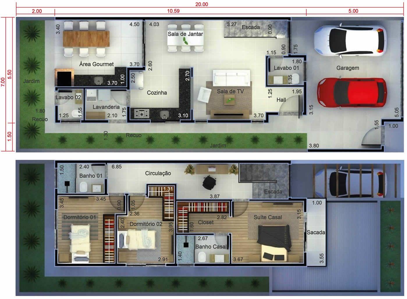 Amado Plano de casa para terreno de 7x20. Plano para terreno 7x20  DZ93