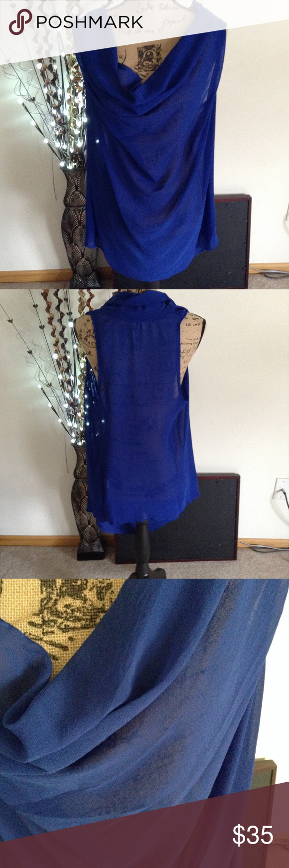 Show Me Your Mumu Shawl Neck Top Cobalt Blue Sleeveless With A D Semi Sheer 2xl Poly Blend Tops Blouses