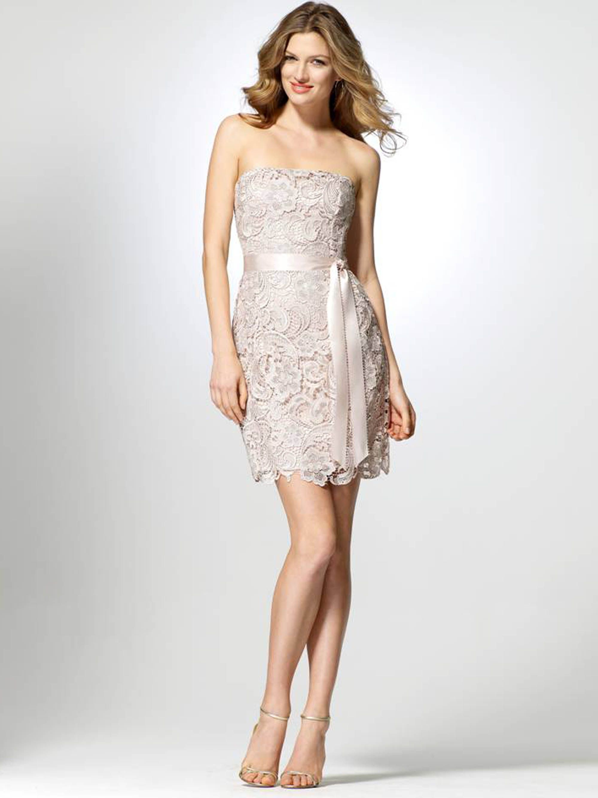 Champagne dress with satin belt and picot edge. | Wedding ...