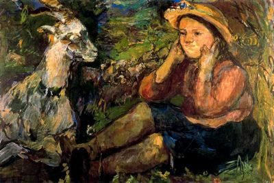 Ciudad de la pintura - La mayor pinacoteca virtual. Oskar Kokoschka., Pan (Trudl con cabra), 1931.