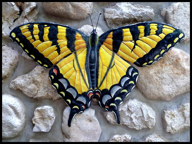 Painted metal Swallowtail Butterfly Wall Hanging, Patio Decior ...