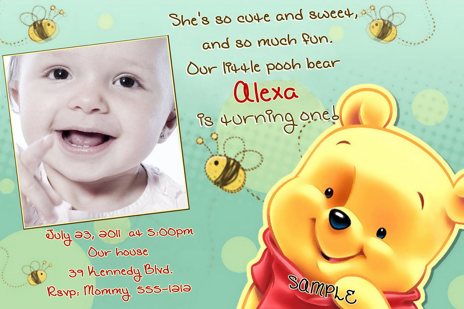 Now Free Template Winnie The Pooh Photo Birthday Invitations