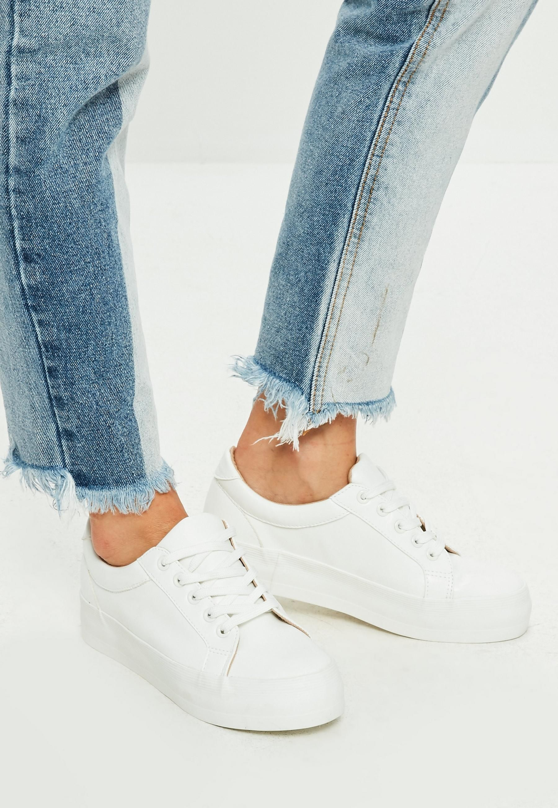 White Faux Leather Flatform Sneakers