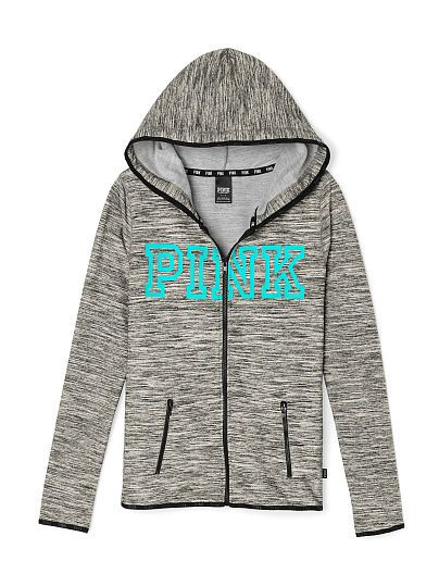 Athletic Full-Zip PINK LN-337-142 (3SV) 74.95 This sporty hoodie features a slim, flattering fit in lightweight stretch fleece. Must-have sweats by Victoria's Secret PINK. Lightweight, stretch fleece Toggle drawstring hood Logo elastic trim Zipper pockets Imported cotton/polyester