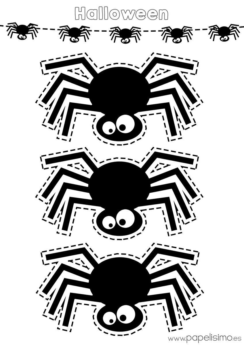 Guirnalda para Halloween, ¡utiliza esta plantilla! | Araña ...