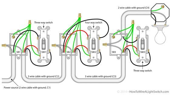 4 Way Switch With Power Feed Via The Light Switch How To Wire A Light Switch Lampa Kabel Lampak